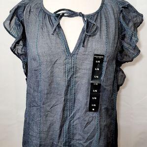Lucky Brand Blue FLutter Sleeve Shirt Size Large